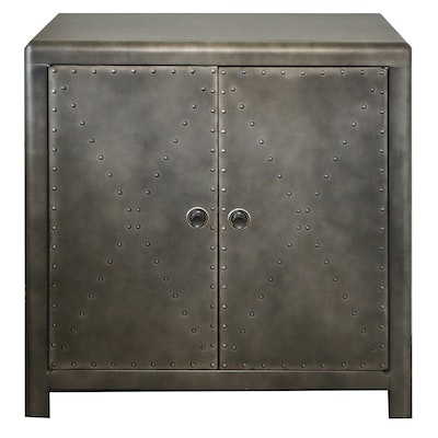 Contemporary Two-Door Cabinet with Metallic Finish