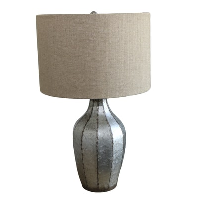 Galvanized Metal Table Lamp with Natural Linen Drum Shade
