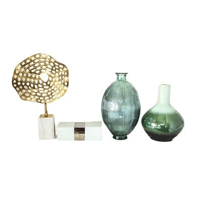 Ceramic and Glass Vases with Other Modern Home Decor