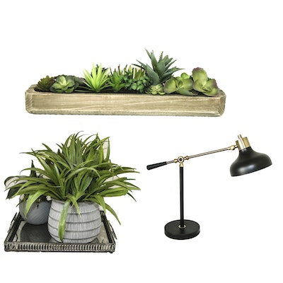 Artificial Arrangements in Planters, Decorative Tray and Table Lamp
