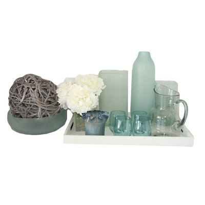 Ruffled Vase, Glass Pitcher, Artificial Floral Arrangement and Other Home Decor