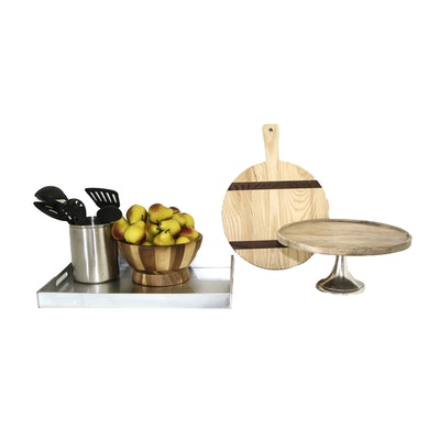 Cooking Utensils, Tray, Wooden Cake Stand and Other Kitchen Decor