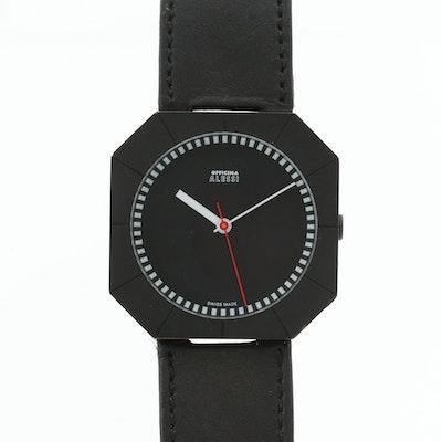 Alessi Swiss Black Chrome Quartz Wristwatch