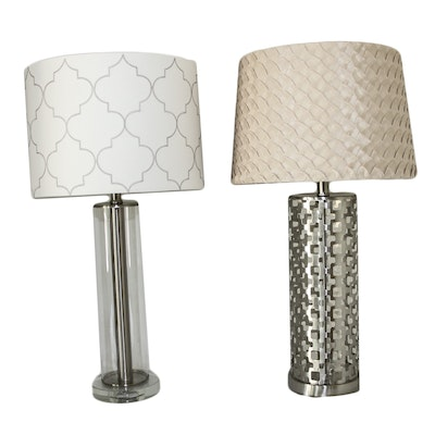 Contemporary Metal Table Lamps with Geometric Patterns