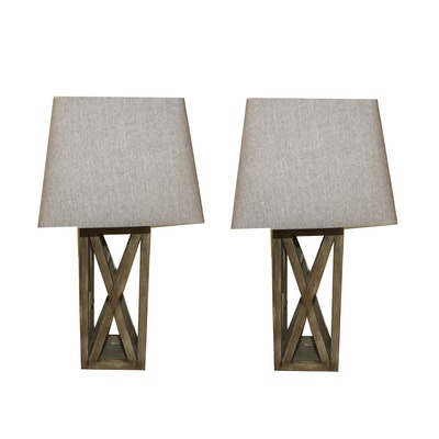 Wood Table Lamps with Linen-Covered Shades