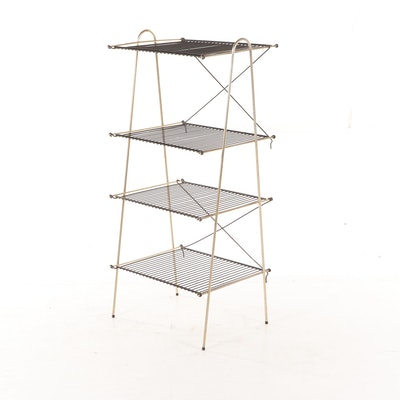 Mid Century Modern Four Tier Collapsable Black and Gold Tone Wire Rack