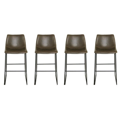Four Leather Upholstered Stools with Metal Frames, 21st Century