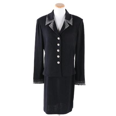 St. John Evening Crystal Embellished Black Knit Jacket and St. John Basics Skirt