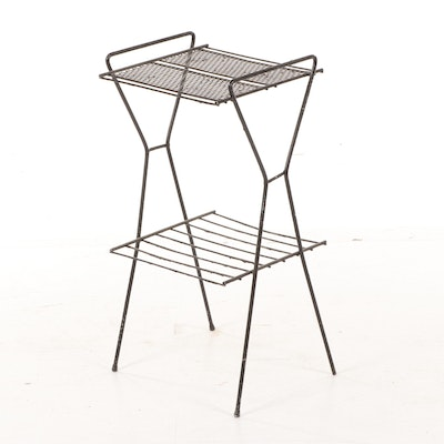 Mid Century Modern Two Tier Black Metal Wire Rack