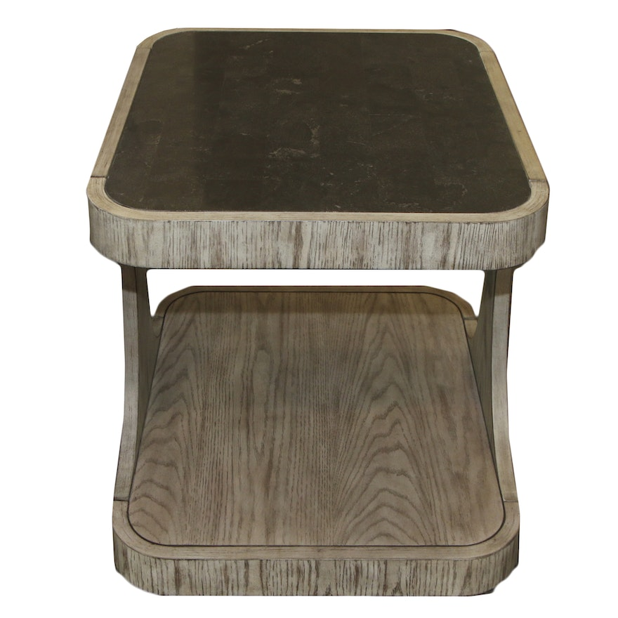 Contemporary Wood Side Table with Composite Top