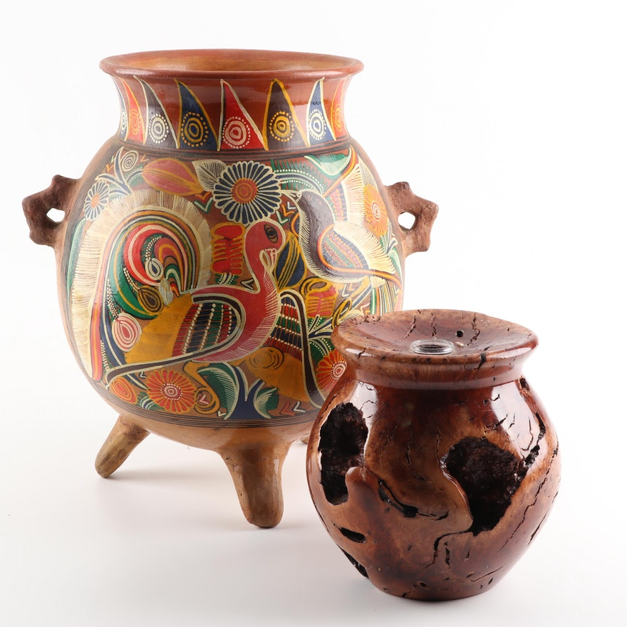 Central American Hand-Painted Earthenware Vase and Redwood Burl Vase