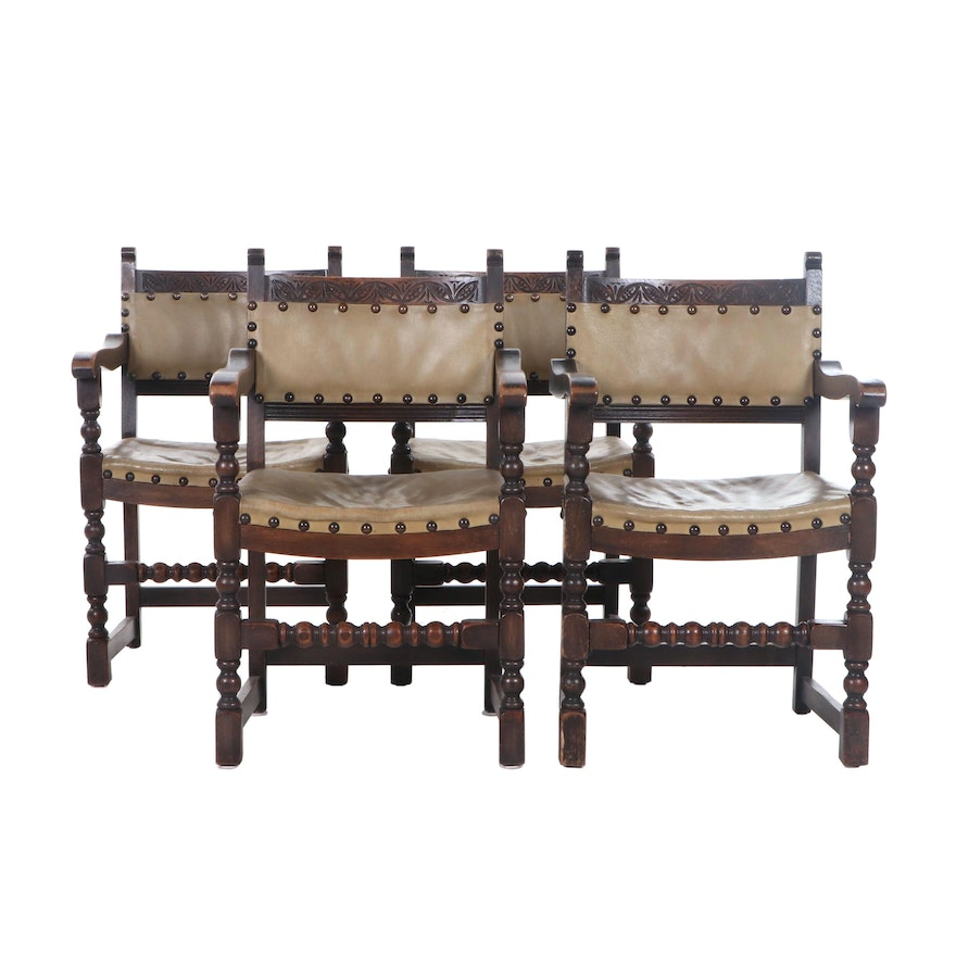 Four Carved Oak Renaissance Style Armchairs, Early 20th Century