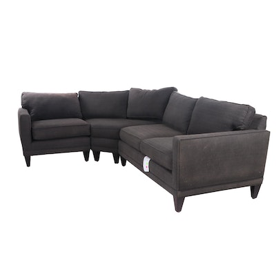 Contemporary Rowe Furniture Wedge Upholstered Sectional Sofa in Espresso