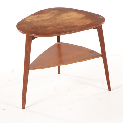 Mid Century Modern Guitar Pick Shaped Two Tier Wooden Accent Table