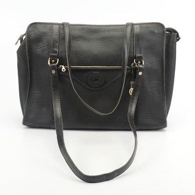 Dooney and Bourke Black Pebbled All-Weather Oversized Leather Tote Bag