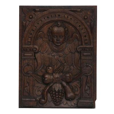 Oak Cabinet Door with Relief Carving, 19th Century