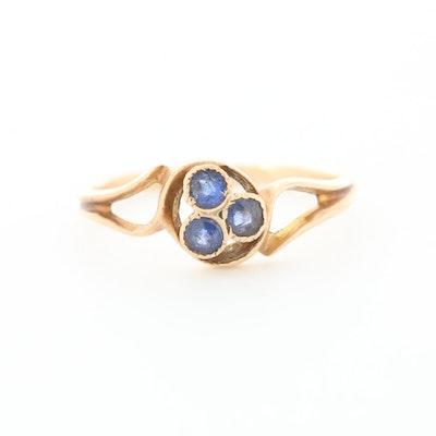 Vintage 10K Rose Gold Garnet and Glass Doublet Ring