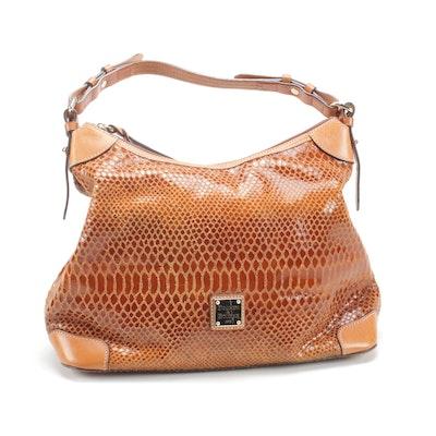 Dooney & Bourke Snake Print Tan Leather Hobo Shoulder Bag