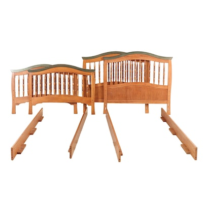 Pair of Contemporary Wooden Twin Size Bed Frames