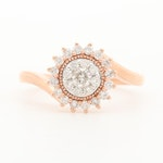 10K Rose Gold Diamond Ring