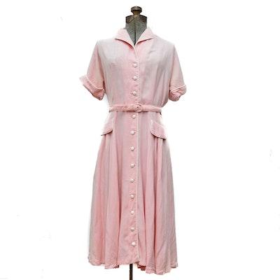 Eve Carver Original Pink Shirtwaist Dress with Belt, 1950s Vintage