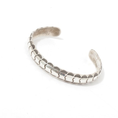 Sterling Silver Etched Southwest Style Cuff Bracelet