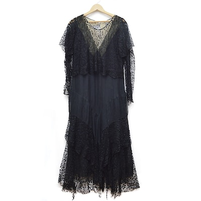 Black Lace Dress with Batwing Sleeves, 1920s Vintage