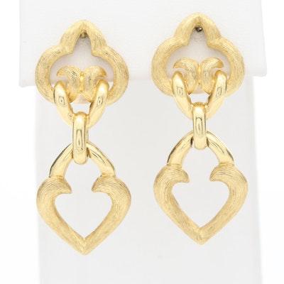 Dunay 18K Yellow Gold Drop Earrings with a Gold Brush Motif