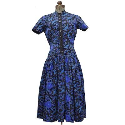 Cotton Drop-Waist Day Dress, 1950s Vintage