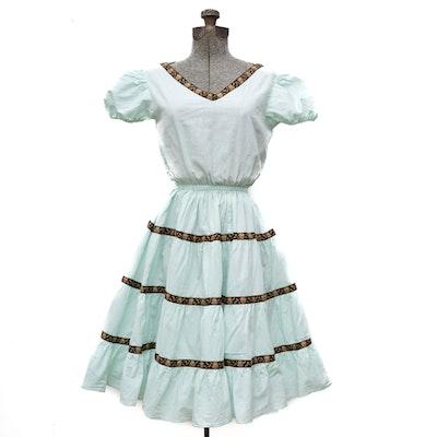 Tiered Cotton Dress with V-Neckline, 1950s Vintage