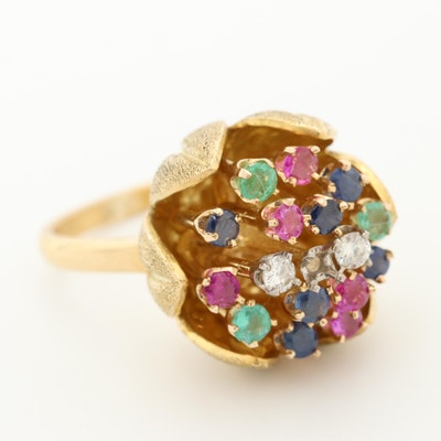 1960s 18K Yellow Gold Diamond, Ruby, Emerald and Sapphire Floral Ring