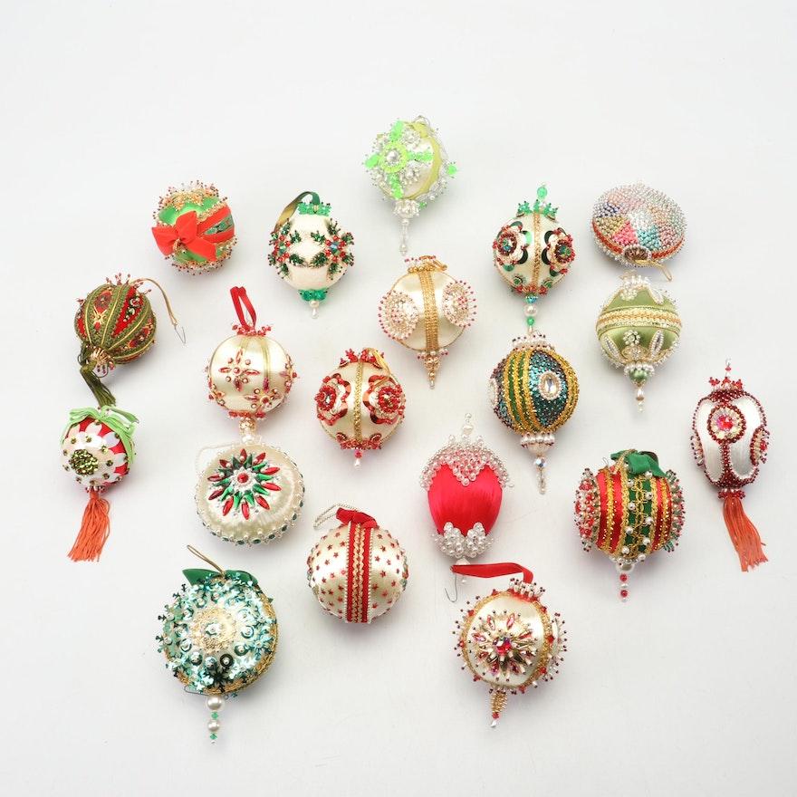 Handmade Victorian Style Beaded Sequin Christmas Ornaments, 1960s