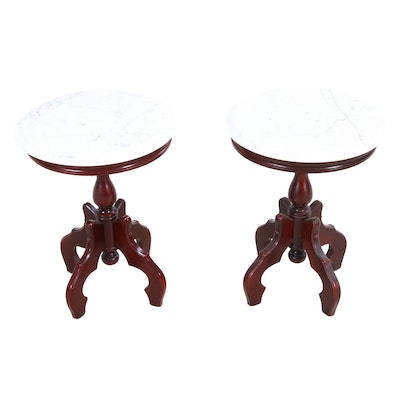 Pair of Victorian Style Mahogany Low Tables, Mid-20th Century