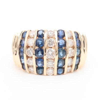 14K Yellow Gold Diamond and Sapphire Ring
