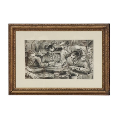 Nelson WWII Naval Meal Scene Watercolor Painting
