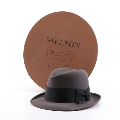 Kennedy's Grey Felted Fedora with Melton Hat Box, Vintage