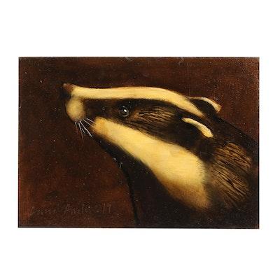 David Andrews 2019 Badger Portrait Oil Painting