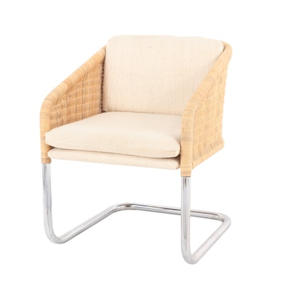 Jansko Metal and Wicker Chair with Wool Upholstery