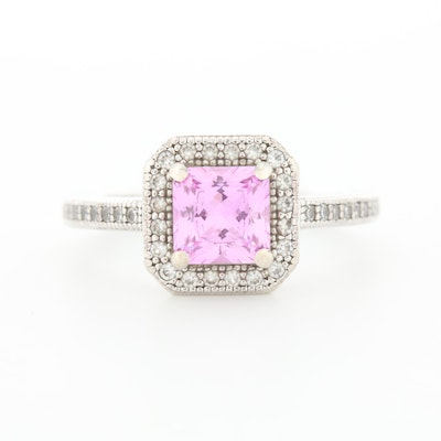 Sterling Silver Pink Sapphire and Cubic Zirconia Ring