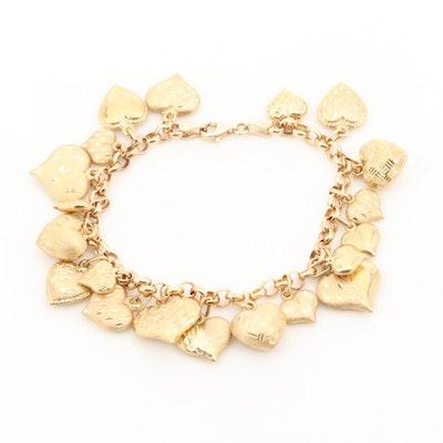 Vintage 14K Yellow Gold Puffy Heart Charm Bracelet