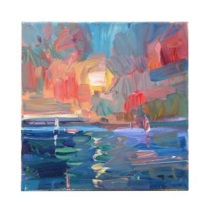 "Jose Trujillo Oil Painting ""Summertime Sunset"""