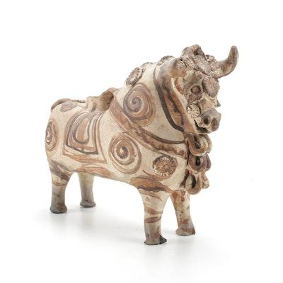 Torito de Pucará Peruvian Bull Earthenware Vessel, Early 20th Century