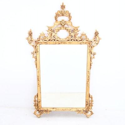 Large Rococo Style Italian Giltwood Mirror, Late 20th Century