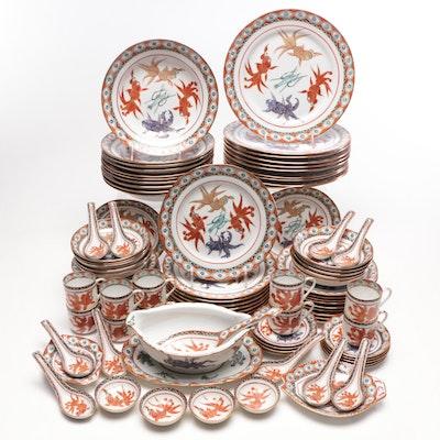 Chinese Hand-Painted Porcelain Dinnerware and Serveware, Mid-Century