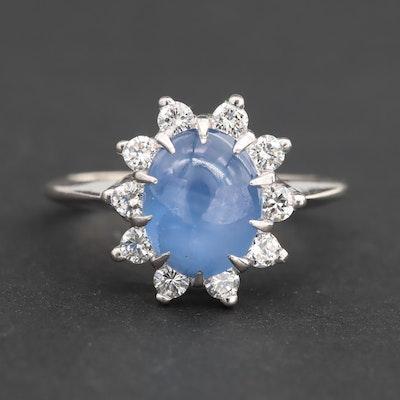 14K White Gold Blue Star Sapphire and Diamond Ring