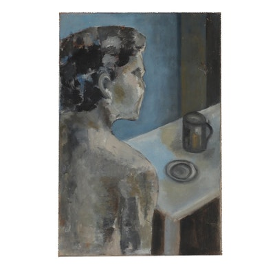 Mid to Late 20th Century Figural Oil Painting