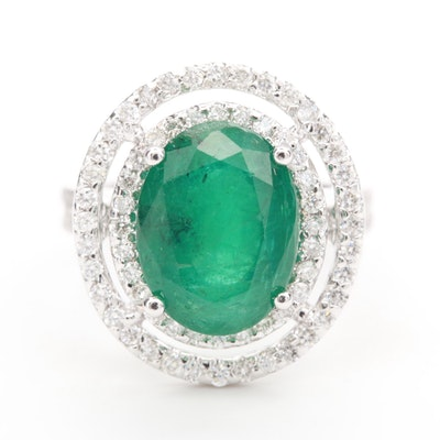14K White Gold 5.30 CT Emerald and 1.14 CTW Diamond Ring