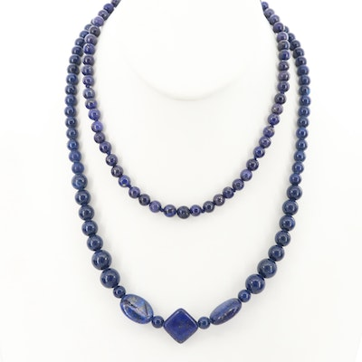 Lapis Lazuli Beaded Necklaces with Sterling Silver Findings