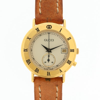 Gucci Gold Tone Chronograph Quartz Wristwatch With Date
