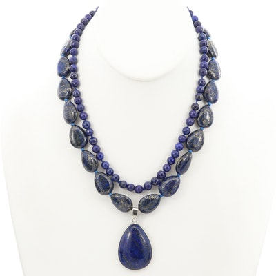 Gemstone Necklaces Including Sterling Silver and Lapis Lazuli